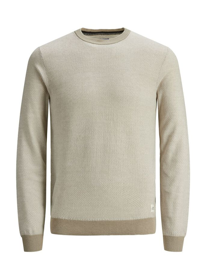 TEXTURED CREW NECK KNITTED PULLOVER, Crockery, large