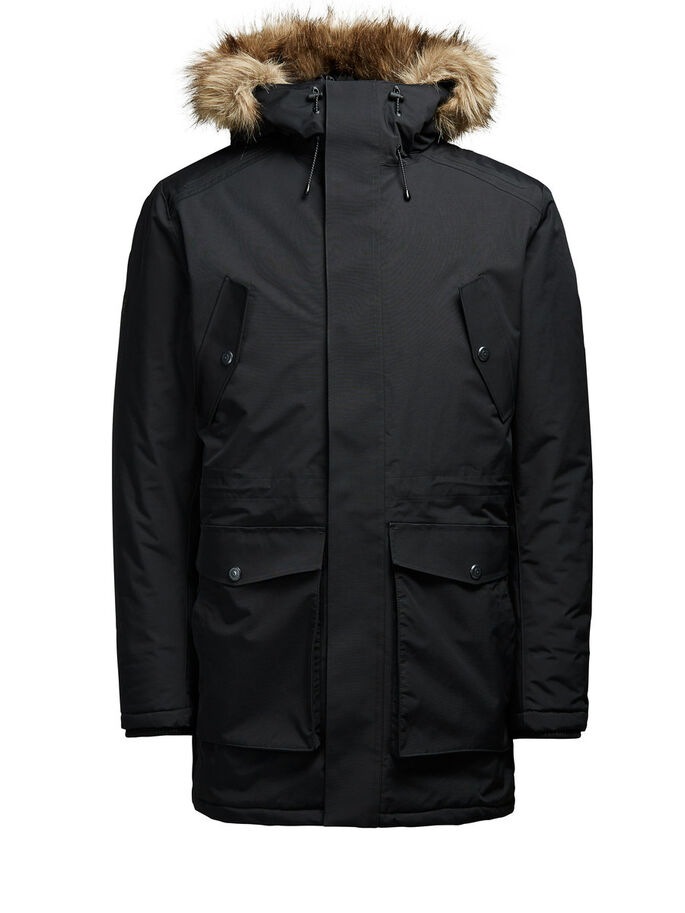 TECHNICAL PARKA COAT, Black, large