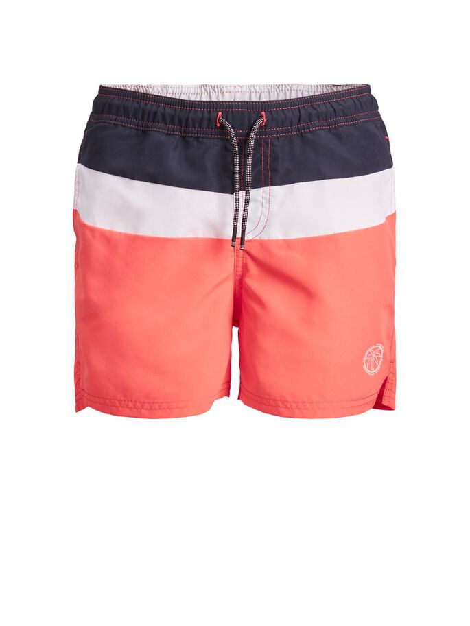 BOYS RECYCLED POLYESTER SWIM SHORTS, Hot Coral, large