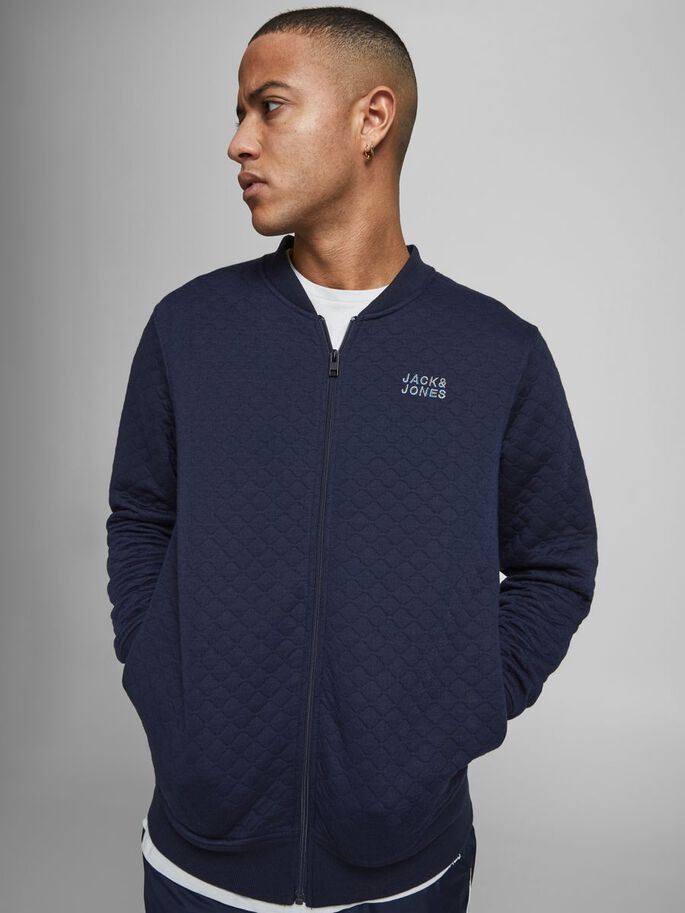 ONION QUILTED ZIP SWEATSHIRT, Navy Blazer, large