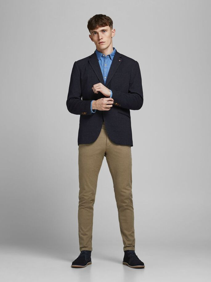 SLIM FIT SOFT TWILL BLAZER, Dark Navy, large