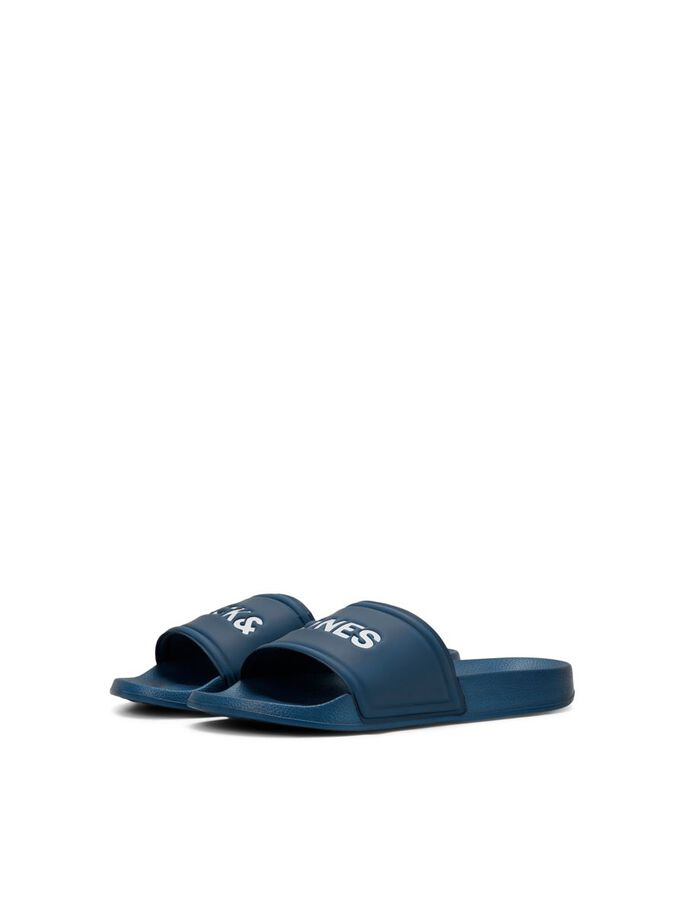 BOYS DEBOSSED LOGO POOL SLIDES, Majolica Blue, large