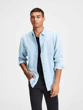 CASUAL DENIM LANGERMET SKJORTE