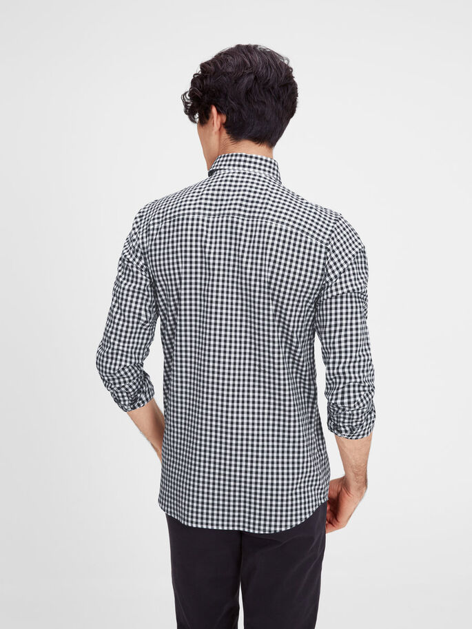 FORMEL SLIM FIT CHECKED LONG SLEEVED SHIRT, Navy Blazer, large