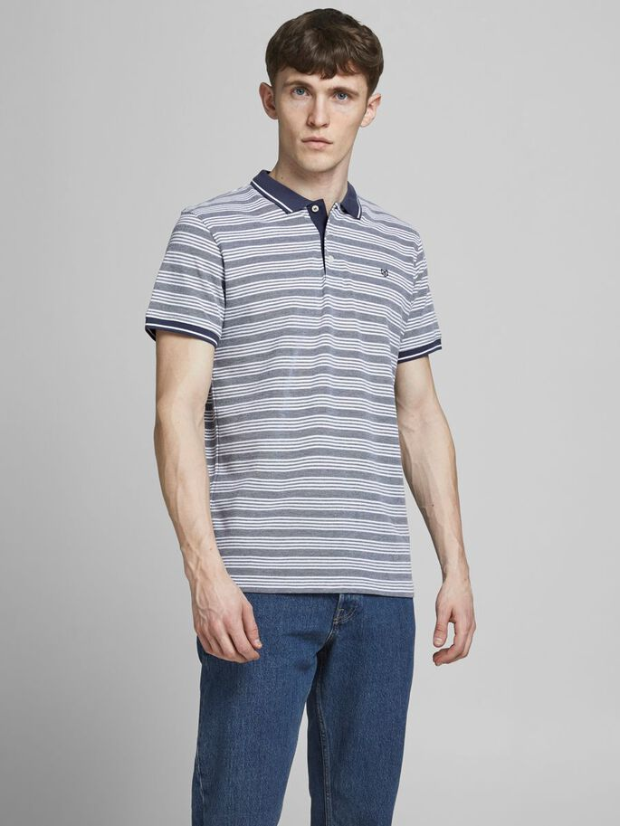 DE RAYAS DE CORTE REGULAR FIT POLO, Mood Indigo, large