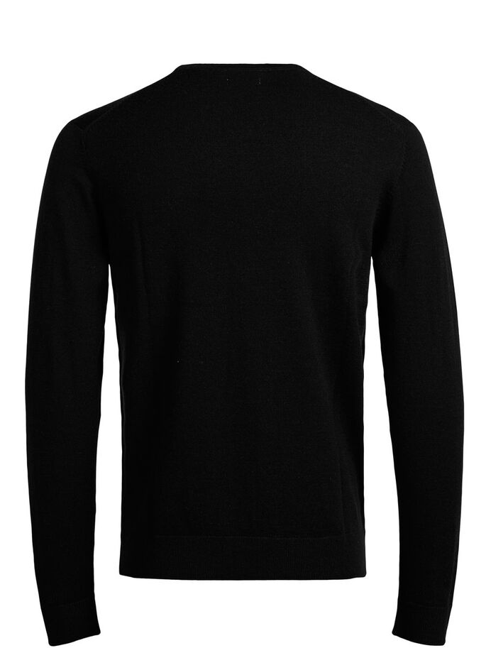 MERINOWOLL- STRICKPULLOVER, Black, large