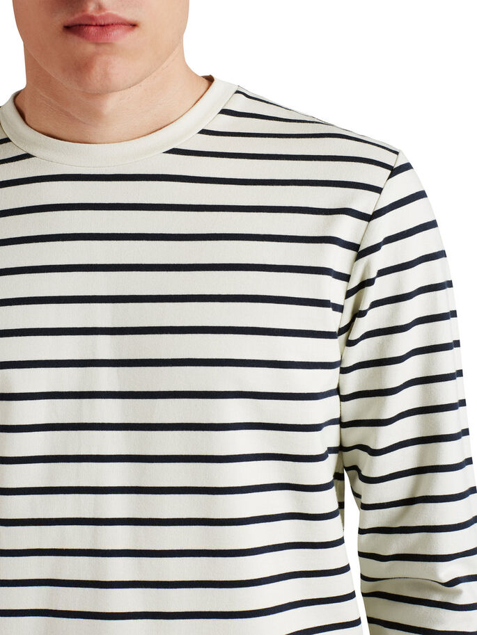 STRIPED SWEATSHIRT SWEATSHIRT, Lily White, large