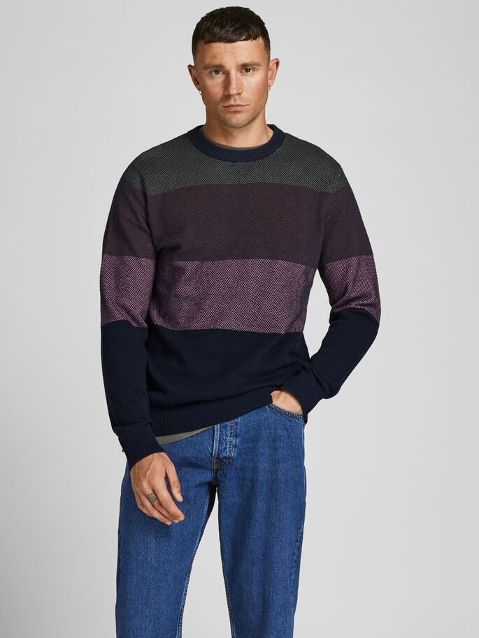 COLOUR BLOCK KNITTED PULLOVER, Catawba Grape, large