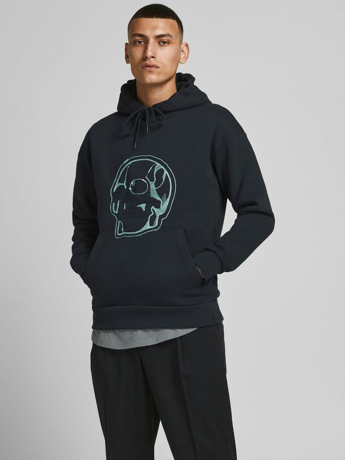 SKULL EMBROIDERY HOODIE, Tap Shoe, large