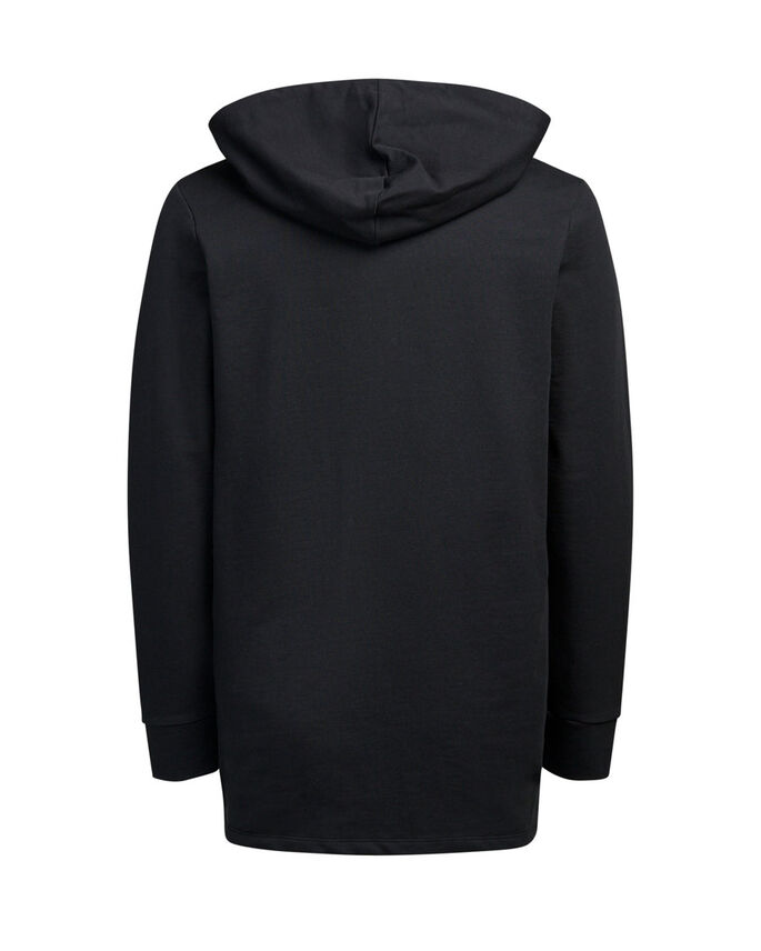 LONG FIT HOODIE, Black, large