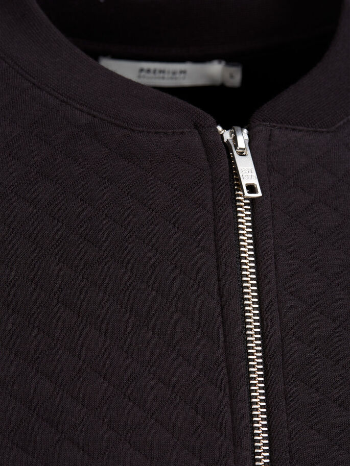 QUILTED BASEBALL ZIPPED SWEAT, Black, large