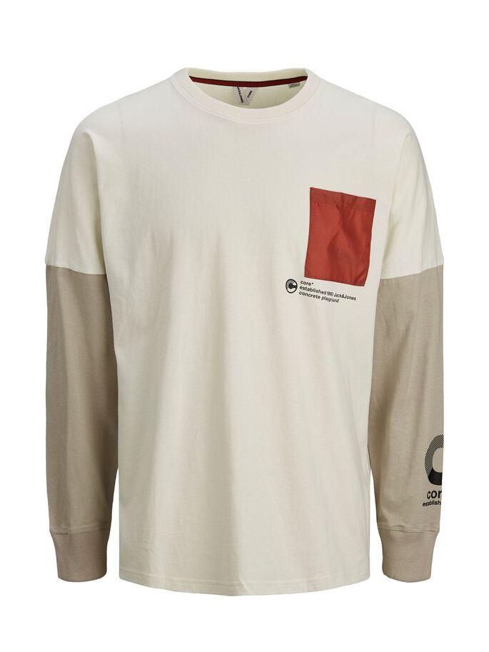 COLOUR BLOCK LONG-SLEEVED T-SHIRT, Silver Birch, large