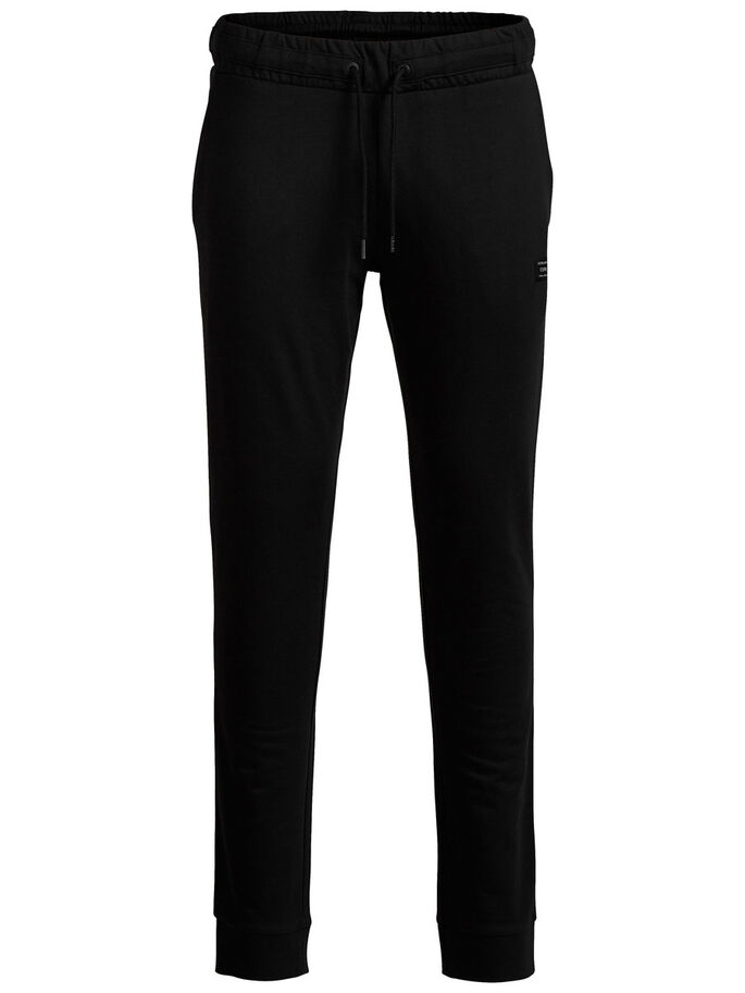 TIGHT FIT JOGGING EN MOLLETON, Black, large