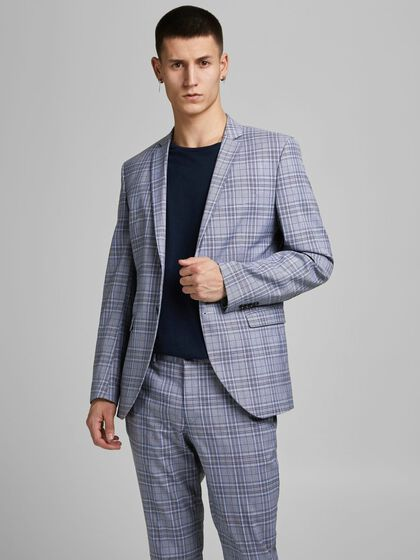 SUPER SLIM FIT TARTAN RUIT BLAZER