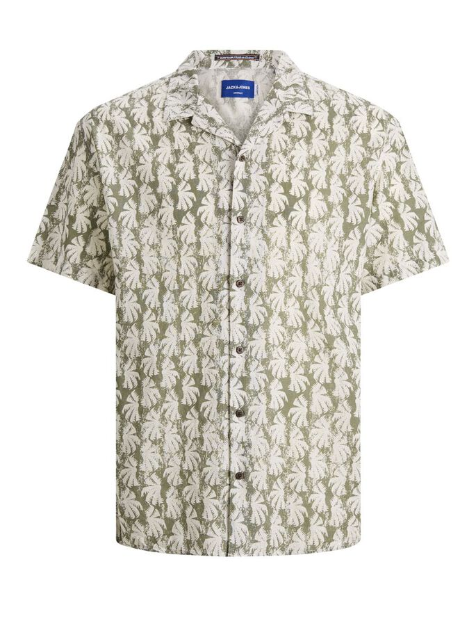 DE ESTILO VACACIONAL CON ESTAMPADO TROPICAL CAMISA DE MANGA CORTA, Sea Spray, large