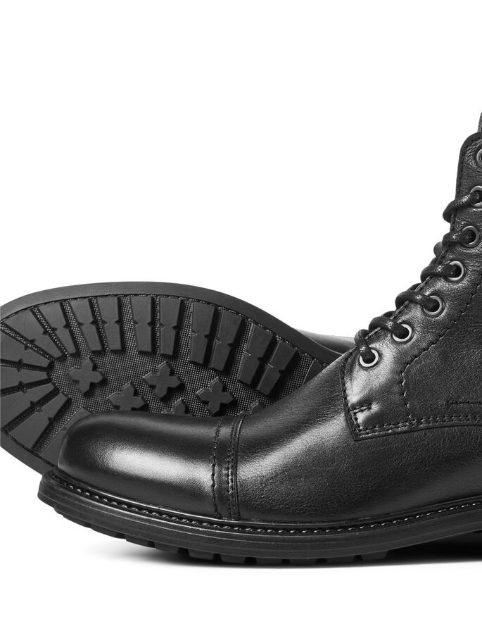 BUCKLE LEATHER BOOTS, Anthracite, large
