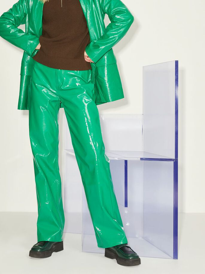 JXKENYA STRAIGHT FAUX LEATHER TROUSERS, Jolly Green, large
