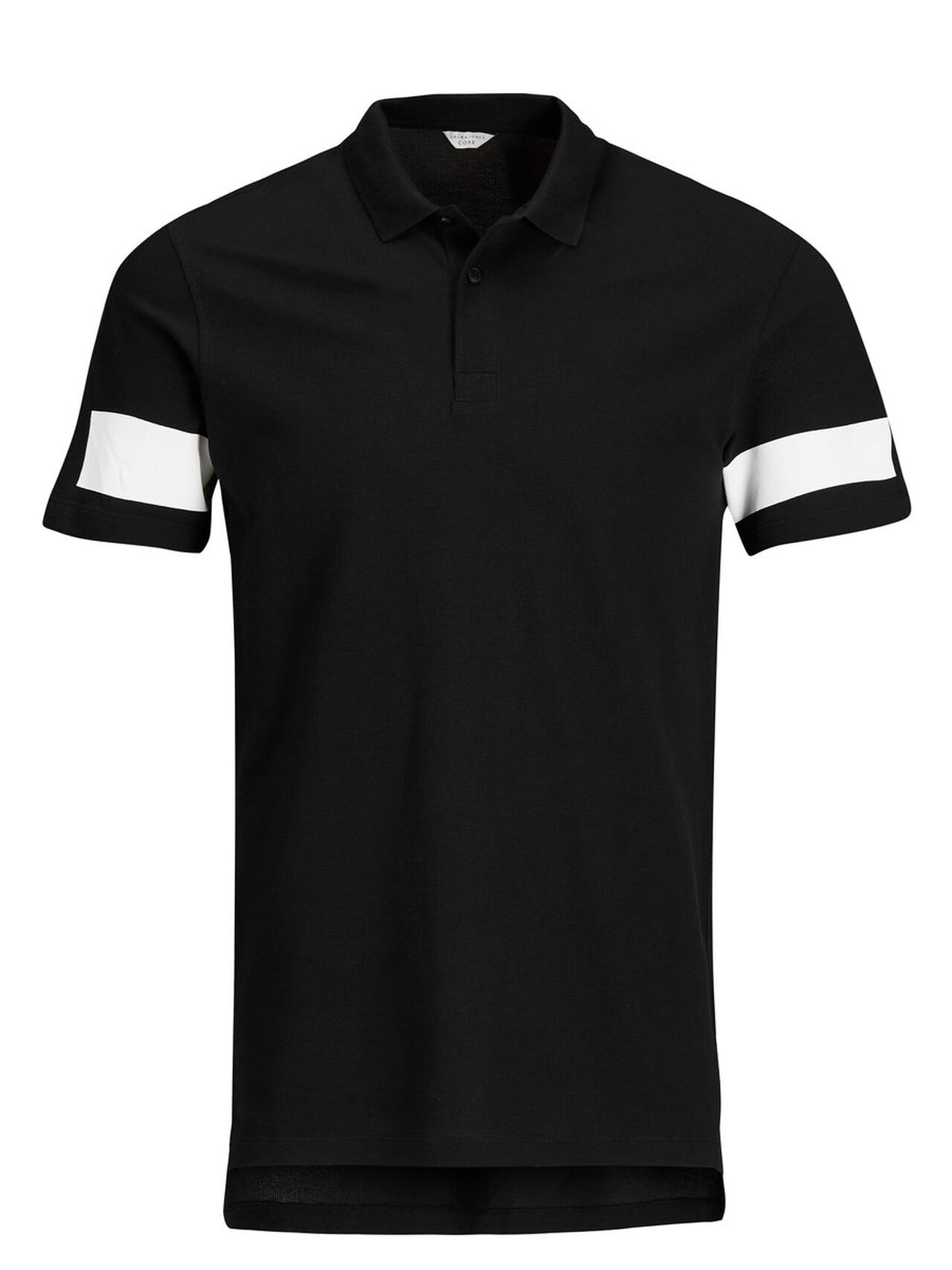 JACK & JONES Long Fit Poloshirt Heren Zwart thumbnail