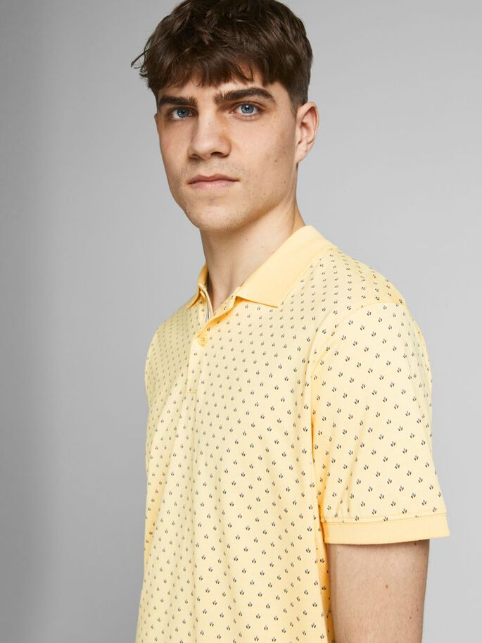 REGULAR FIT ALL-OVER PRINT POLO, Banana Crepe, large