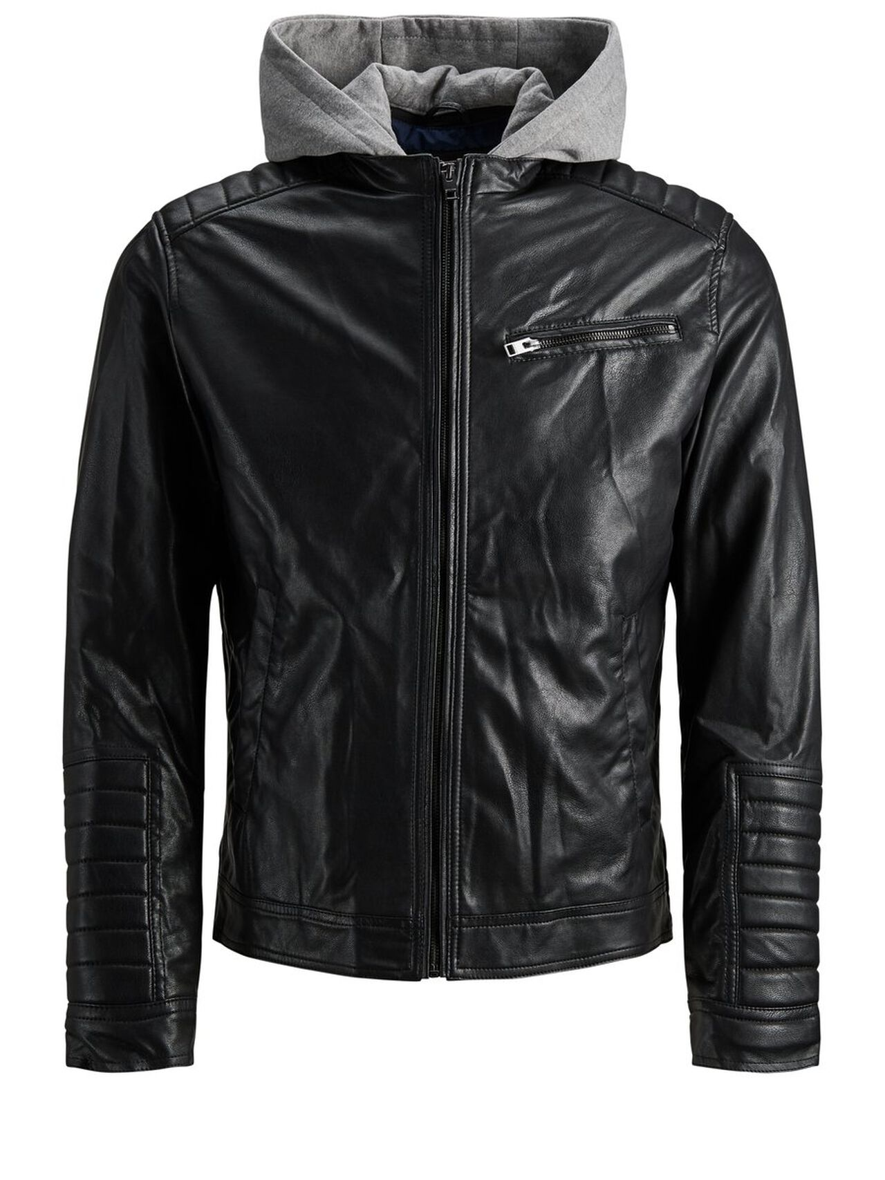 Image of JACK & JONES 2-i-1 Biker-style Jakke Mænd Sort (23250716123)