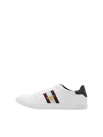 LOGO FAUX LEATHER SNEAKERS
