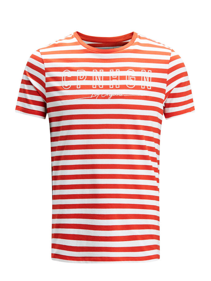 GESTREIFTES T-SHIRT, Fiery Red, large