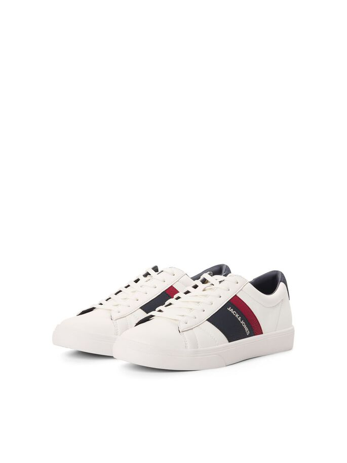 CONTRAST COLOUR FAUX LEATHER SNEAKERS, Bright White, large