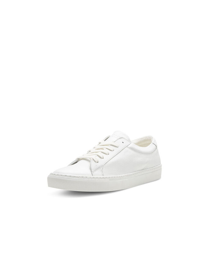 SPORTIGA LÄDER SNEAKERS, Bright White, large