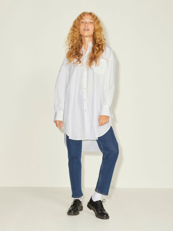 JXLACY POPELINE OVERSIZE CAMICIA, White, large