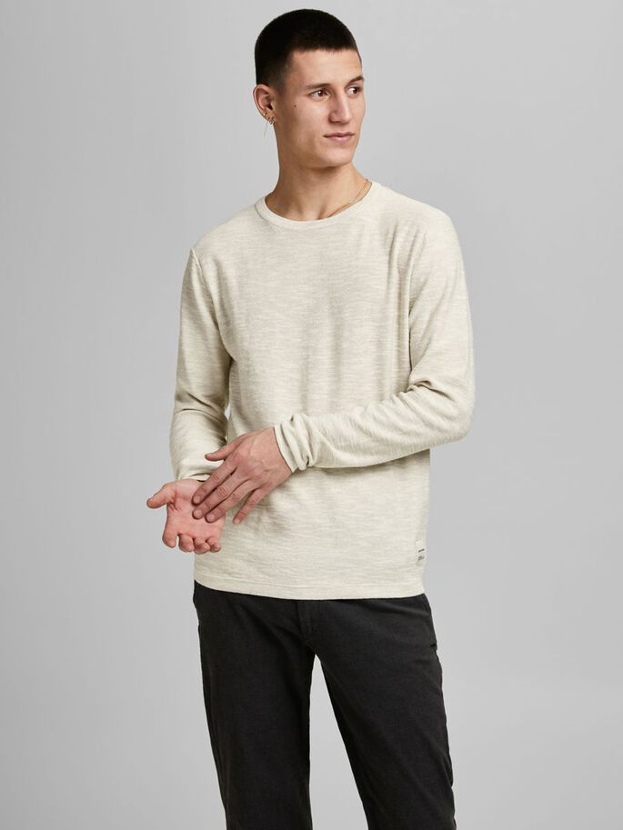 ORGANIC COTTON KNITTED PULLOVER, Crockery, large