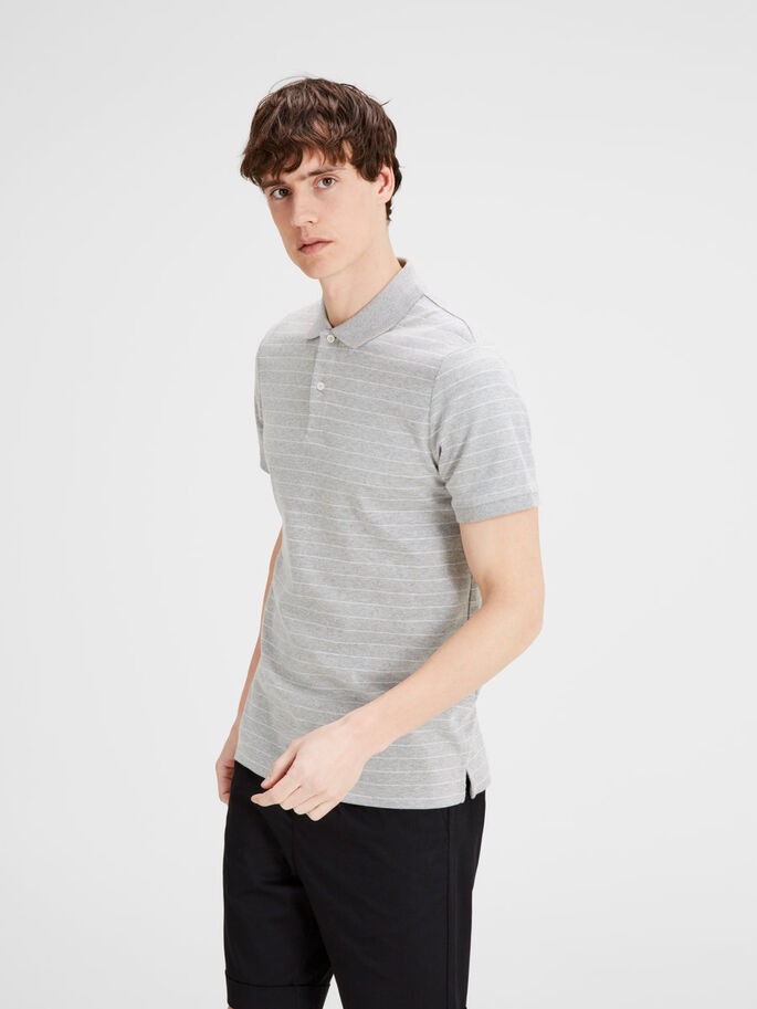 STRIPETE POLOSKJORTE, Light Grey Melange, large