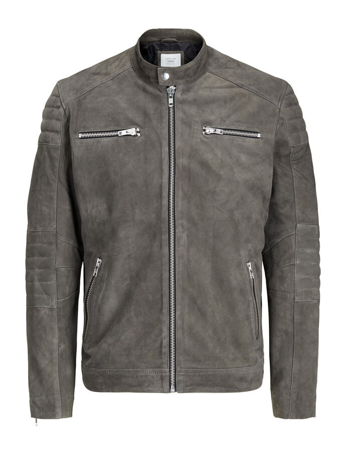 BIKER LEATHER JACKET, Dark Grey, large