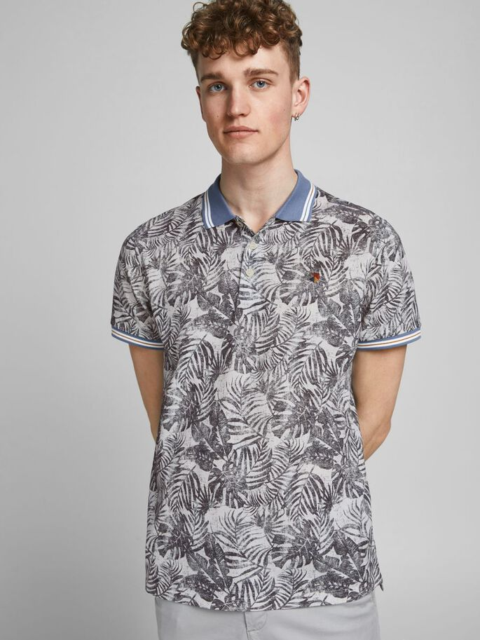 REGULAR FIT BOTANIKPRINT POLOSHIRT, Cloud Dancer, large