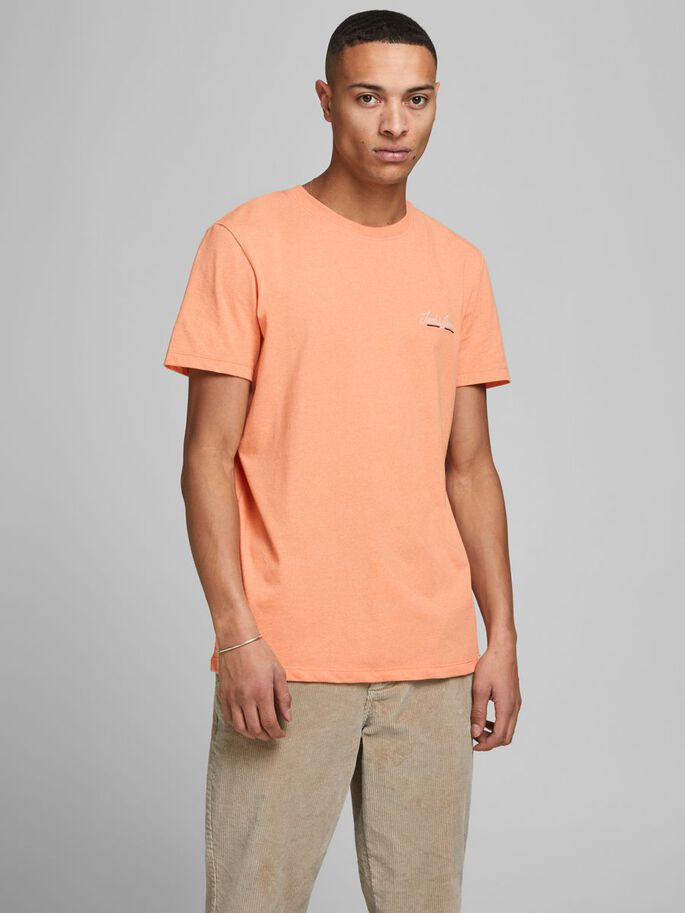 LOGO CREW NECKLINE T-SHIRT, Shell Coral, large
