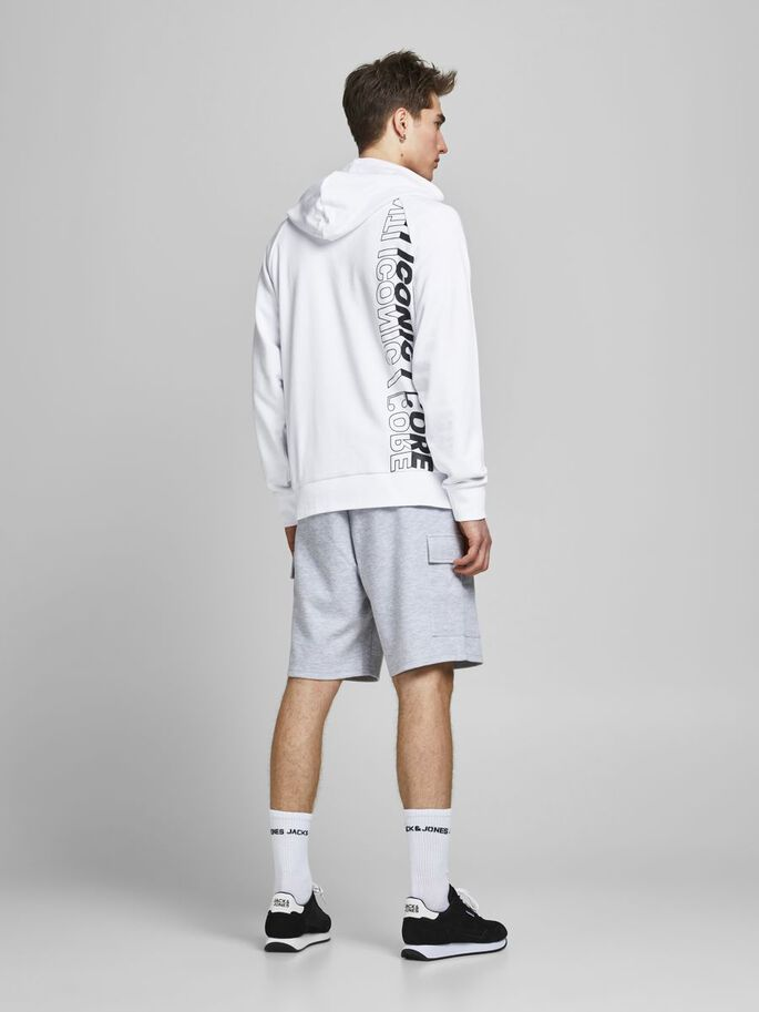 LOOPBACK PLACEMENT-PRINT HOODIE, White, large