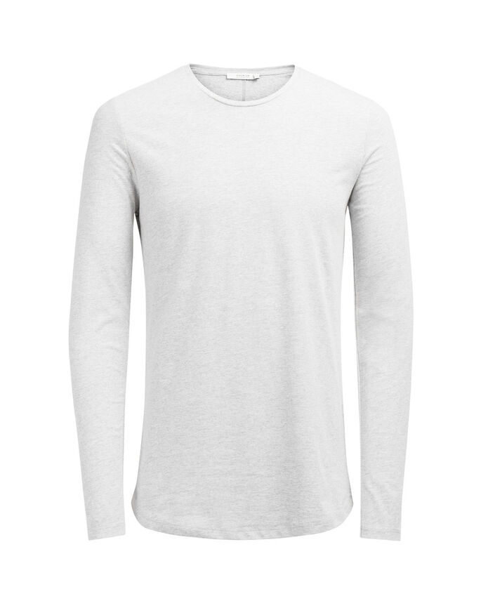 SOLID LANGERMET T-SKJORTE, Light Grey Melange, large