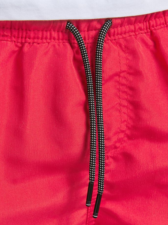 BOYS RECYCLED POLYESTER SWIM SHORTS, Flame Scarlet, large