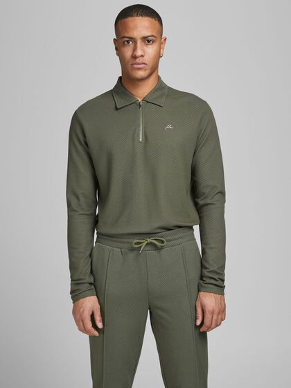 ZIPPED LONG-SLEEVED POLO