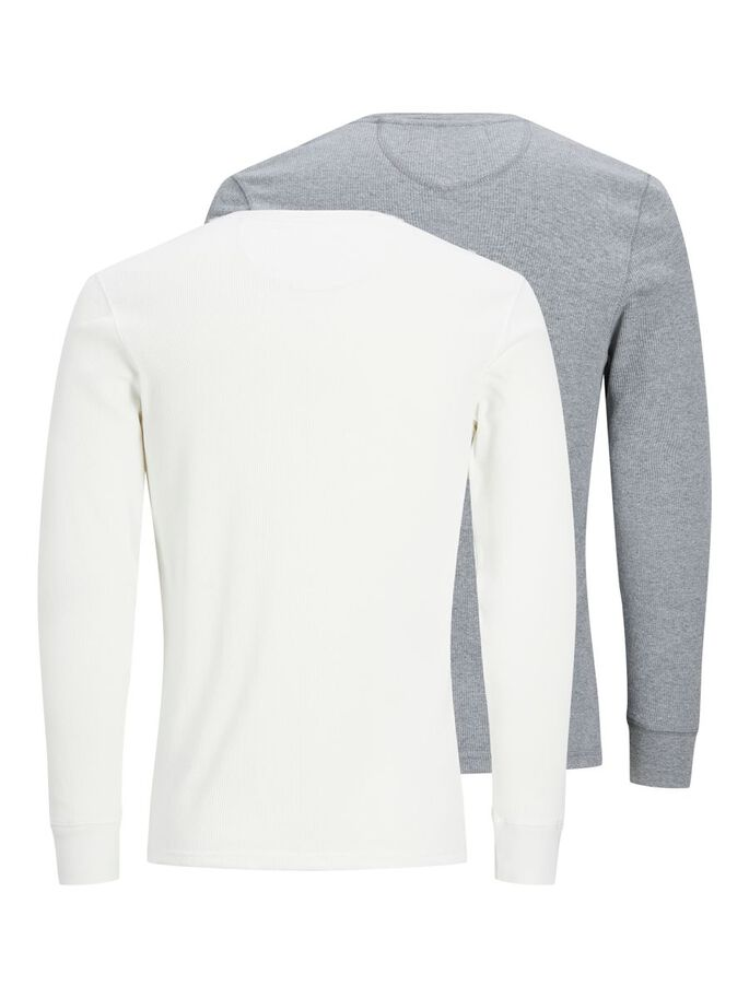2-PACK HENLEY LONG-SLEEVED T-SHIRT, Grey Melange, large
