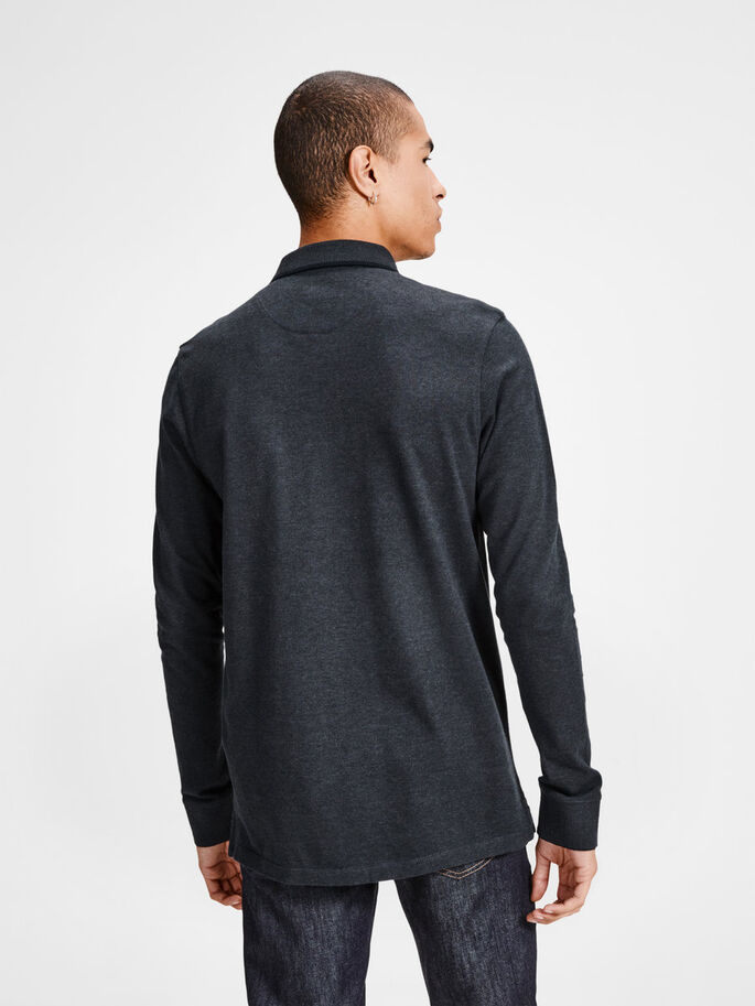 KLASSINEN PIKEEPAITA, Dark Grey Melange, large