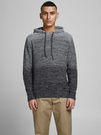 GRADIENT HOOD KNITTED PULLOVER