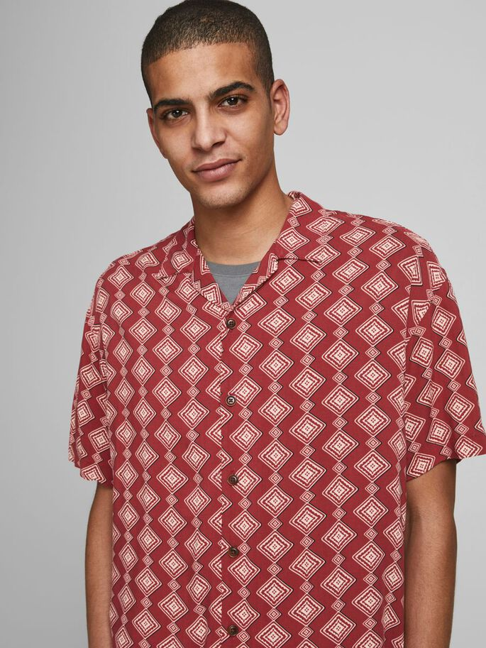 RELAXED FIT RESORT SHORT SLEEVED SHIRT, Brick Red, large