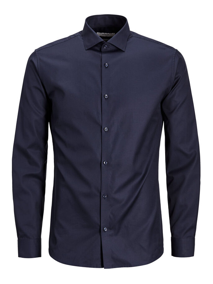 BUSINESS CAMICIA A MANICHE LUNGHE, Dark Navy, large