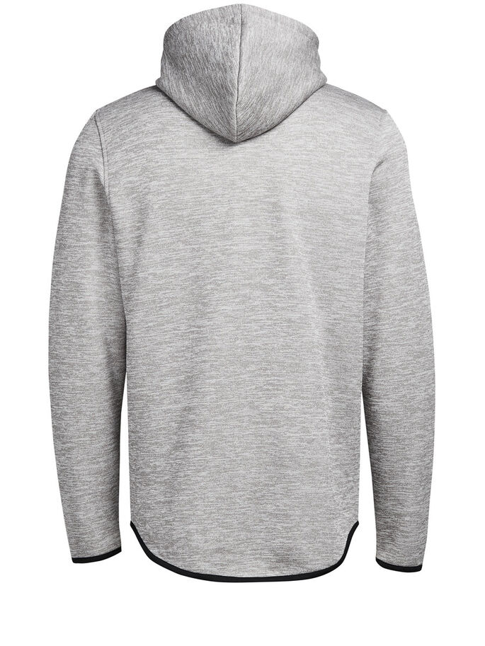 HOODED ZIPTHROUGH SWEATSHIRT, Light Grey Melange, large