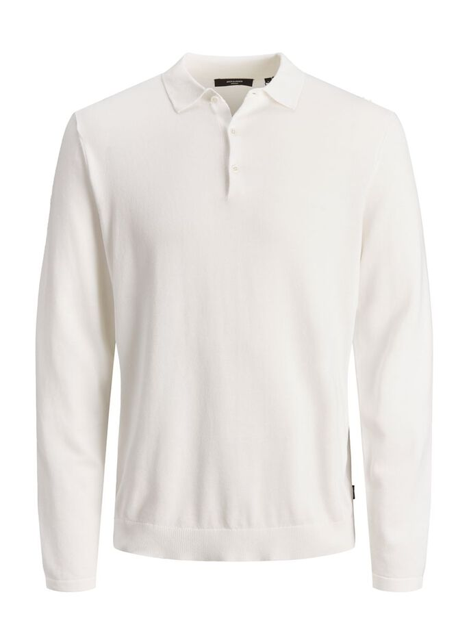 ORGANIC COTTON LONG-SLEEVED POLO, Egret, large