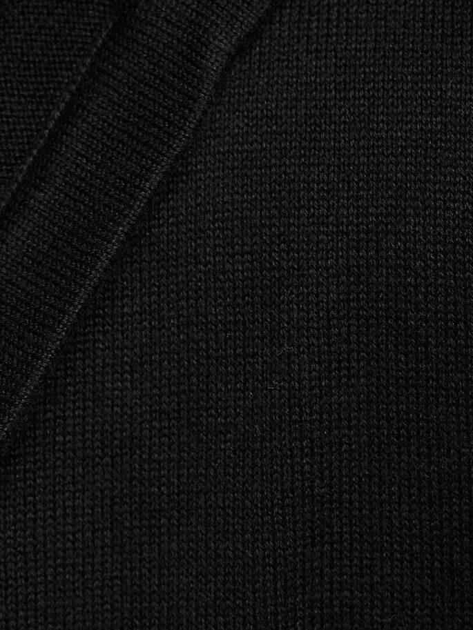 OPEN CAPUCHON GEBREID VEST, Black, large