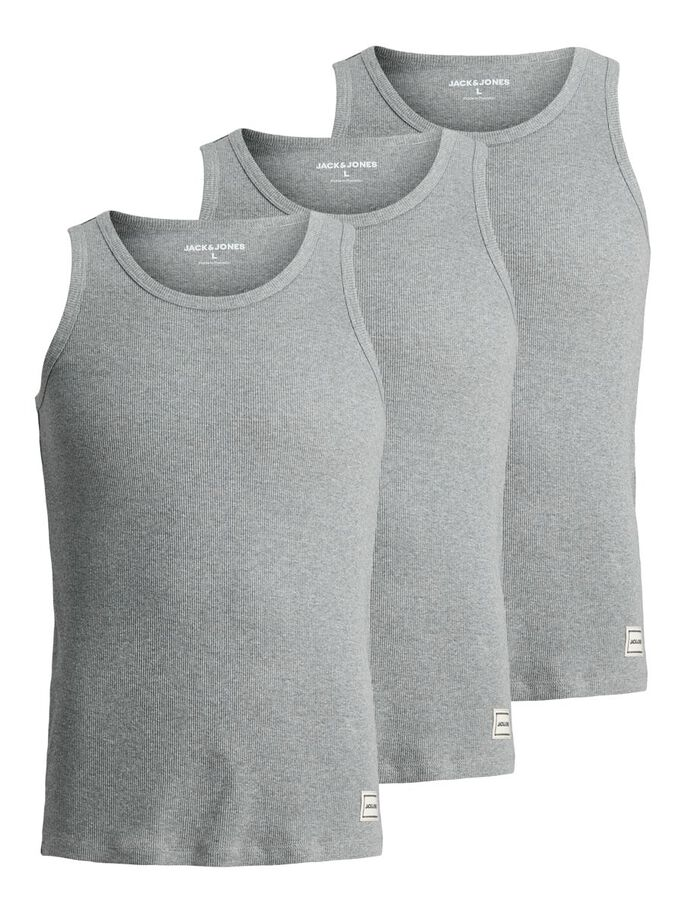 3-PACK RIB TANK TOP, Grey Melange, large