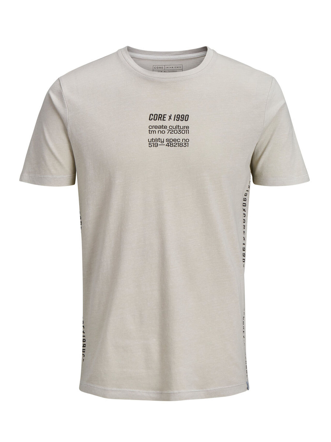 JACK & JONES Tone-in-tone T-shirt Men Grey