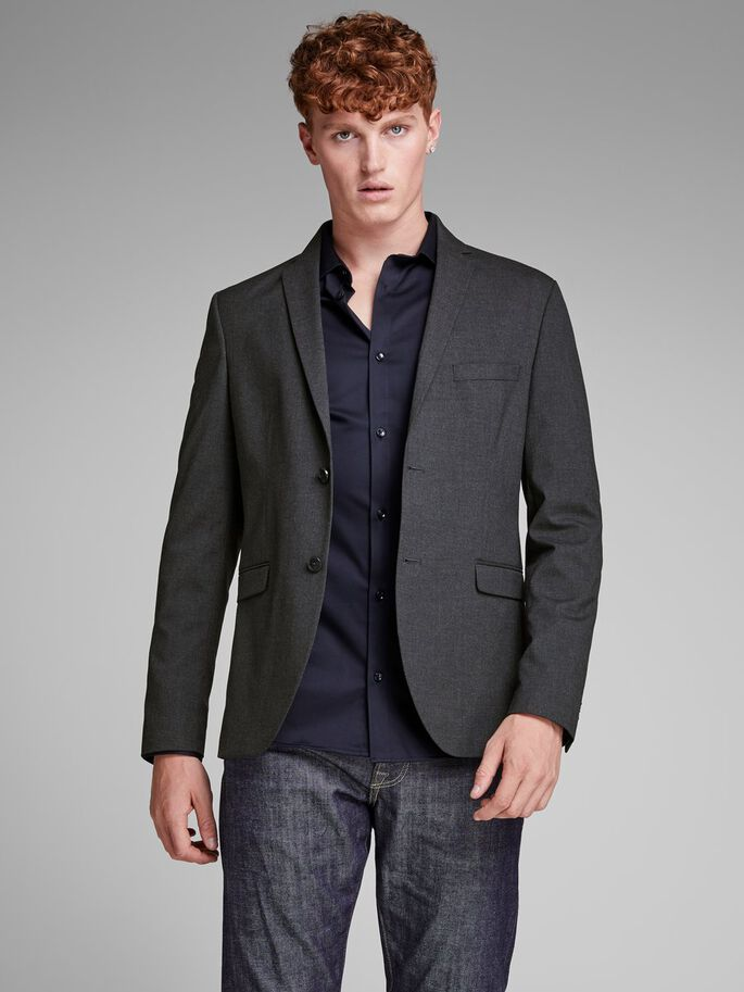 GRIJZE BLAZER, Dark Grey, large