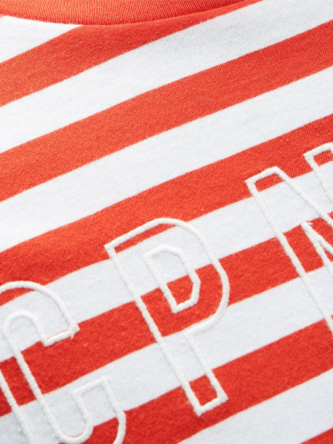 STRIPE T-SHIRT, Fiery Red, large